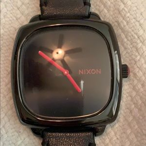 Nixon black leather watch with hot pink dial!